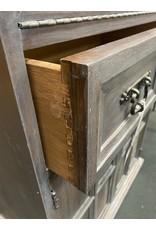 1970's Style Gray Washed Oak Liquor Cabinet
