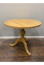 Small Round Pine Pedestal Dining Table