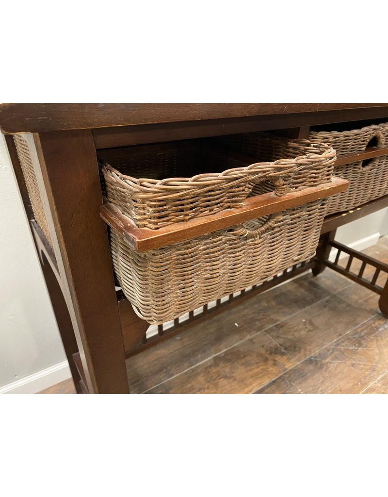 Tall Dark Wood Sofa Table with Basket Drawers