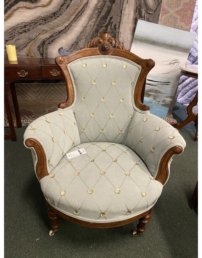 Teal Upholstered Victorian Chair