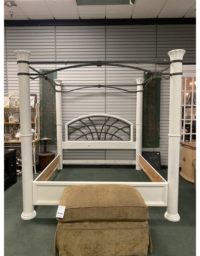 King Size White Bed Frame w/ Canopy by Tomasville