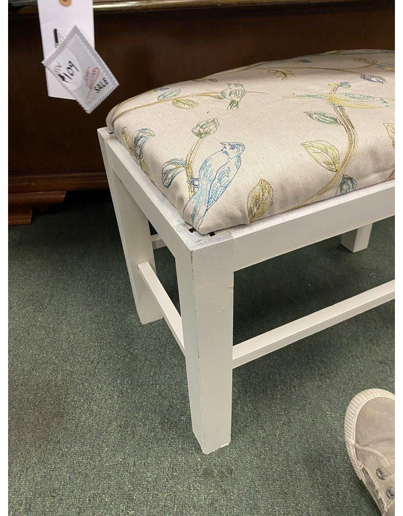 White  Vanity Stool w/ Bird Fabric