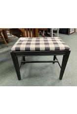 Black  Vanity Stool w/ Plaid Fabric