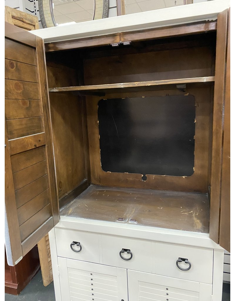 White Painted TV Armoire