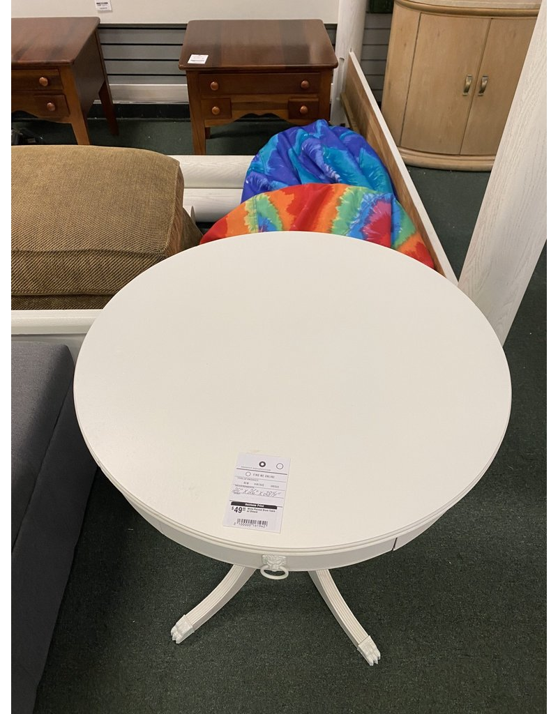 White Painted Drum Table w/ Drawer