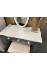 Silver and White Vanity w\ Stool