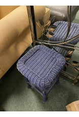 Small  Blue Wicker End Table