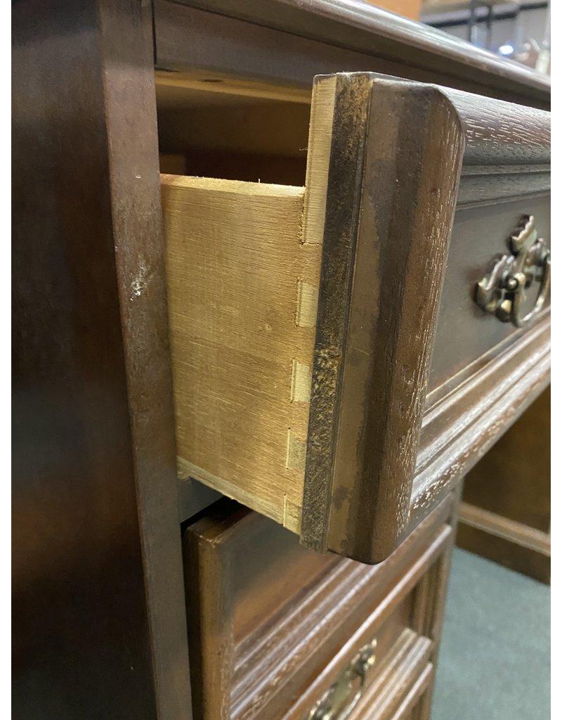 Dark Wood 9 Drawer Kneehole Desk