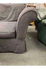 Charcoal Oversized Upholstered Chair w/ Ottoman