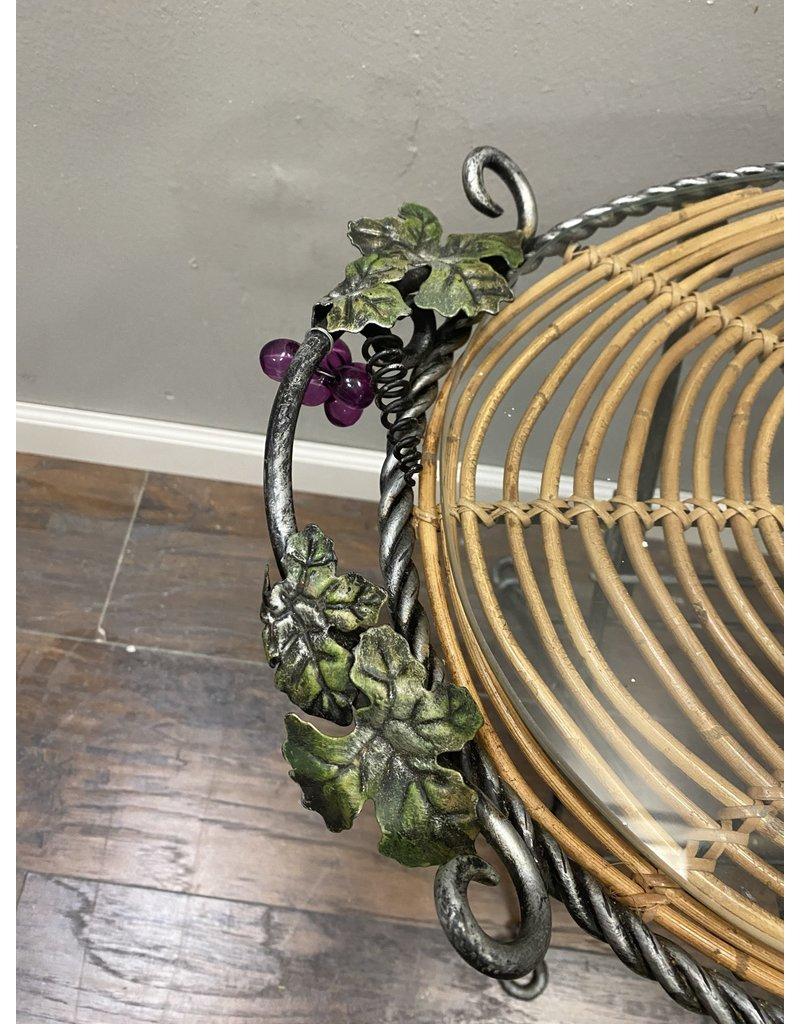 Grape Themed Metal Wine Stand w/ Glass Top