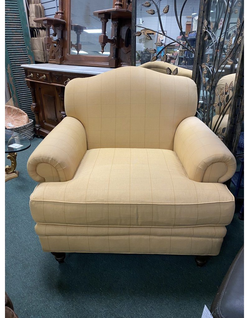Oversized Yellow Upholstered  Rolled Arm Chair by Haverty's