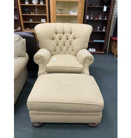 Oversized Cream Tall Back Armchair w/ Ottoman