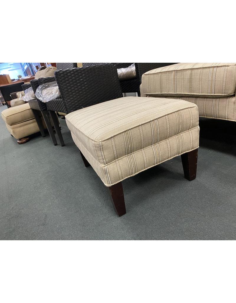 Tan Striped Arm Chair w\Ottoman
