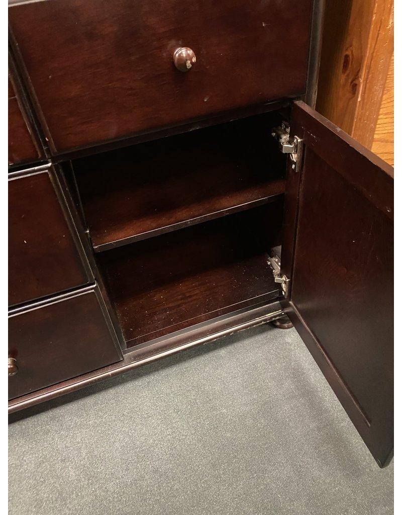 Dark Wood Buffet w/ Drawers and Doors