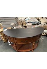Dark Wood Demi Lune Console Table with Black Top