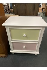 White 2 Drawer  Night Stand with Colored Front