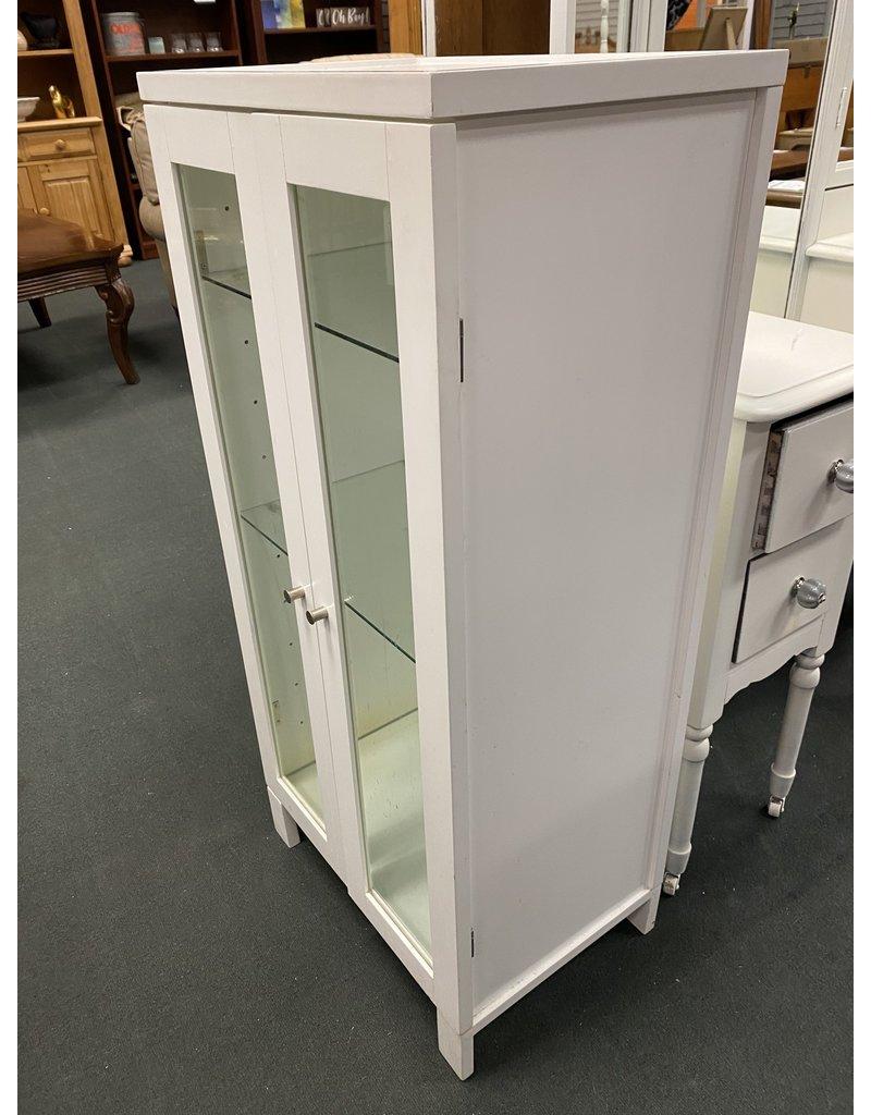 White 2 Door Cabinet with Glass Door and Shelves