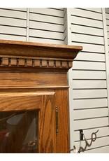 Dark Oak Hutch w/ Glass Shelves and Door