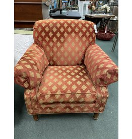 Red Traditional Rolled Back Chair w/ Diamond Pattern