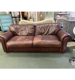 Dark Cherry Leather Rolled Arm Sofa