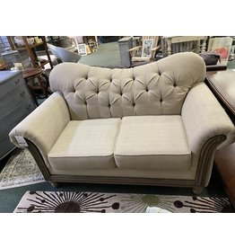 Tan Upholstered French Style Love Seat