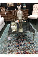 Hammary Mallory Glass and Nickel Cocktail Table