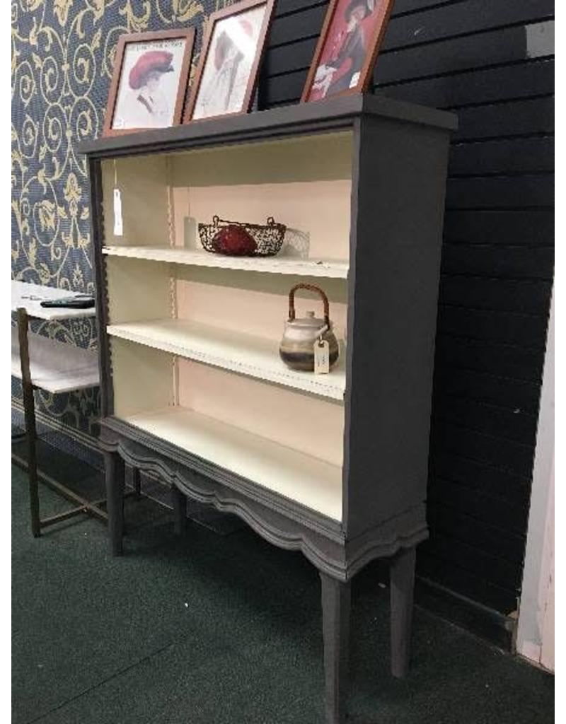 Gray and White Vintage Bookcase