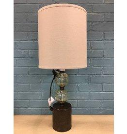 "Bungalow Rose™ Barron Pedestal Glass 25"" Table Lamp"
