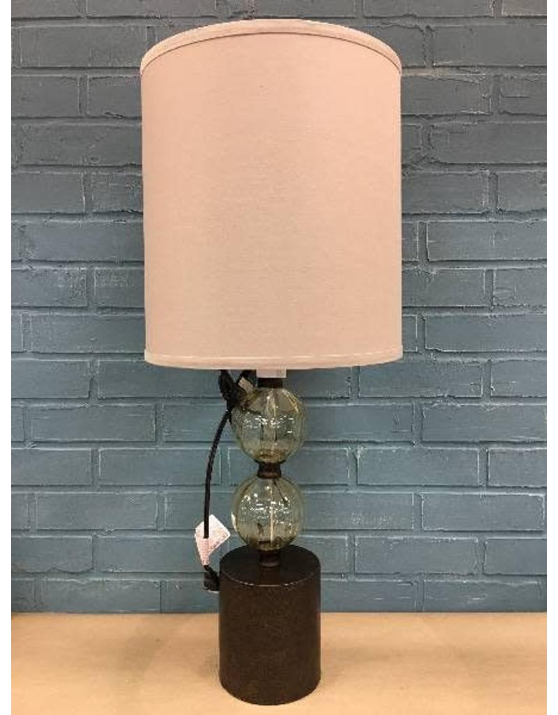 "Bungalow Rose™ Barron Pedestal Glass 25"" Table Lamp"