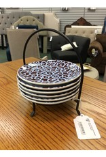 Set of 6 Decorative Dessert Plates w/ Stand