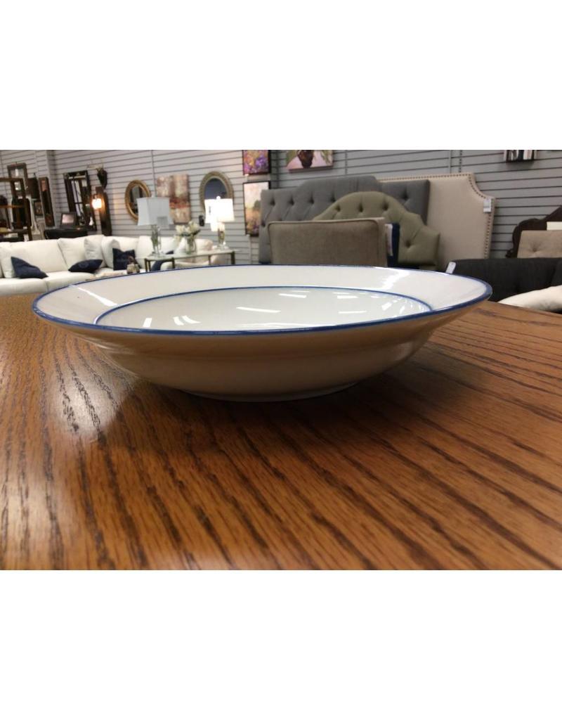 White Bowl w/ blue Trim