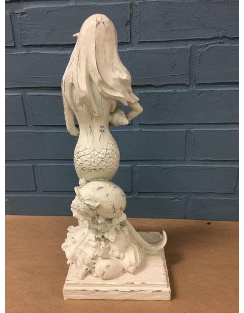 White Washed Sitting Mermaid