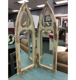 Hinged mirror w/ gothic arch