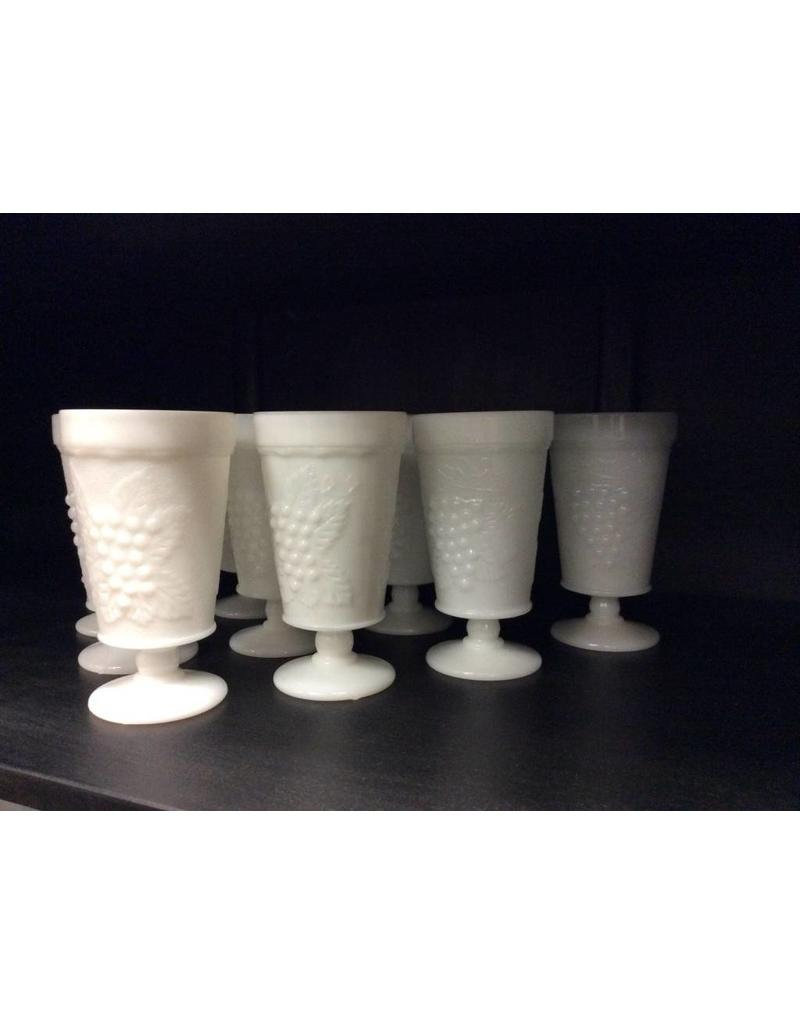 Set of 10 Footed Milk Glass Goblets
