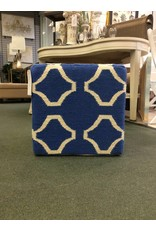 Geometric Royal Blue Patterned Wool Cube Ottoman