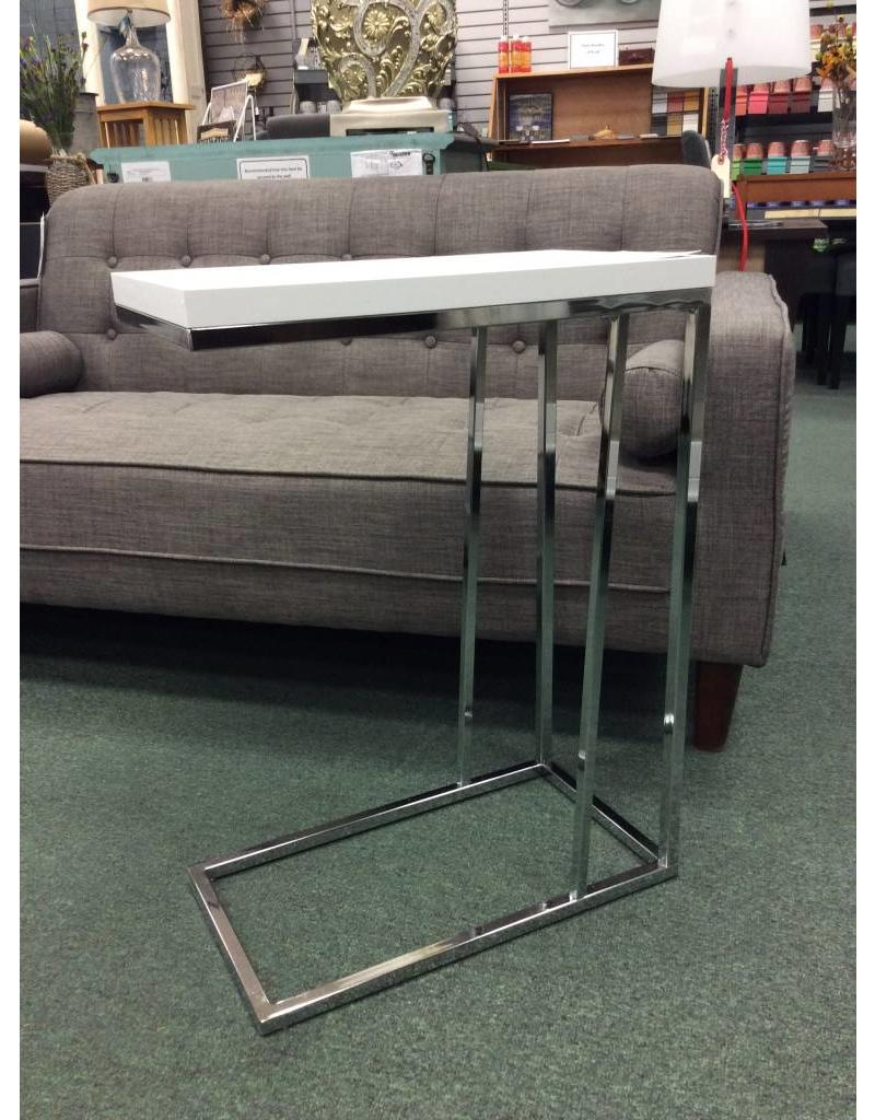 Mclaughlin White And Chrome End Table