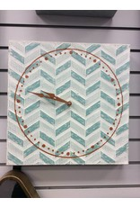 Midwest-CBK LLC Blue & Whitewash Chevron Wall Clock