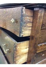Vintage Dark Oak 4 Drawer Bow Front Dresser