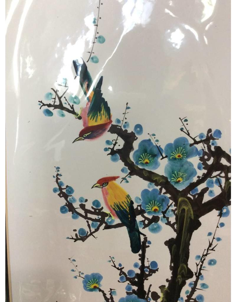 Asian Style Matted Bird and Flower Print