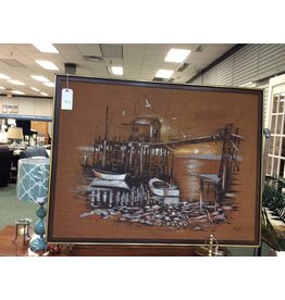 Mid Century Painting on Burlap