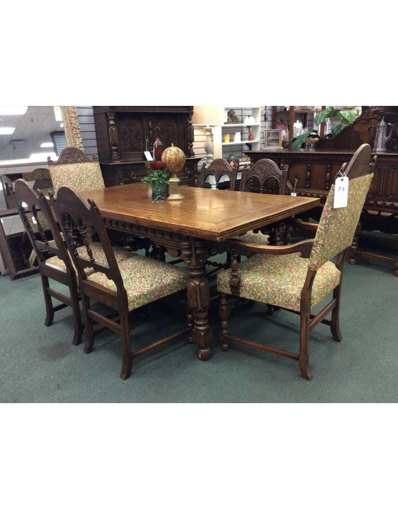 Solid Oak Jacobean Style Dining Table 6 Chairs