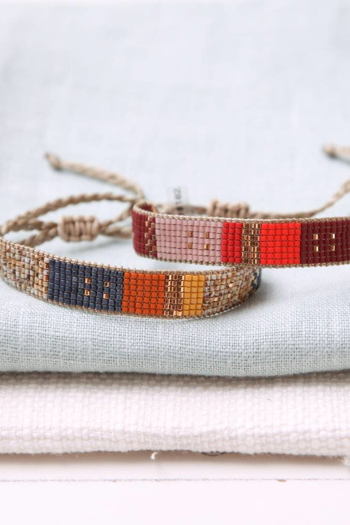 Woven Adjustable Beaded Multi Bracelet