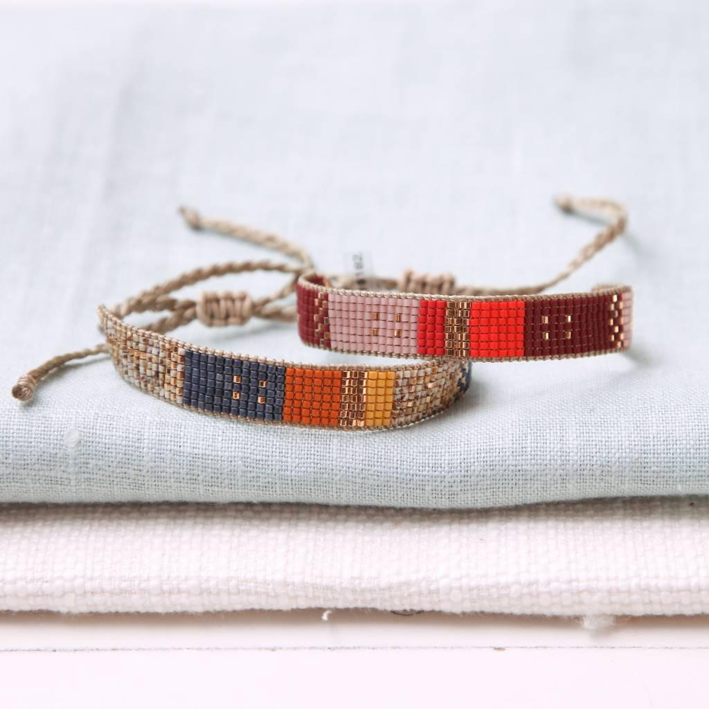 Woven Adjustable Beaded Multi Bracelet