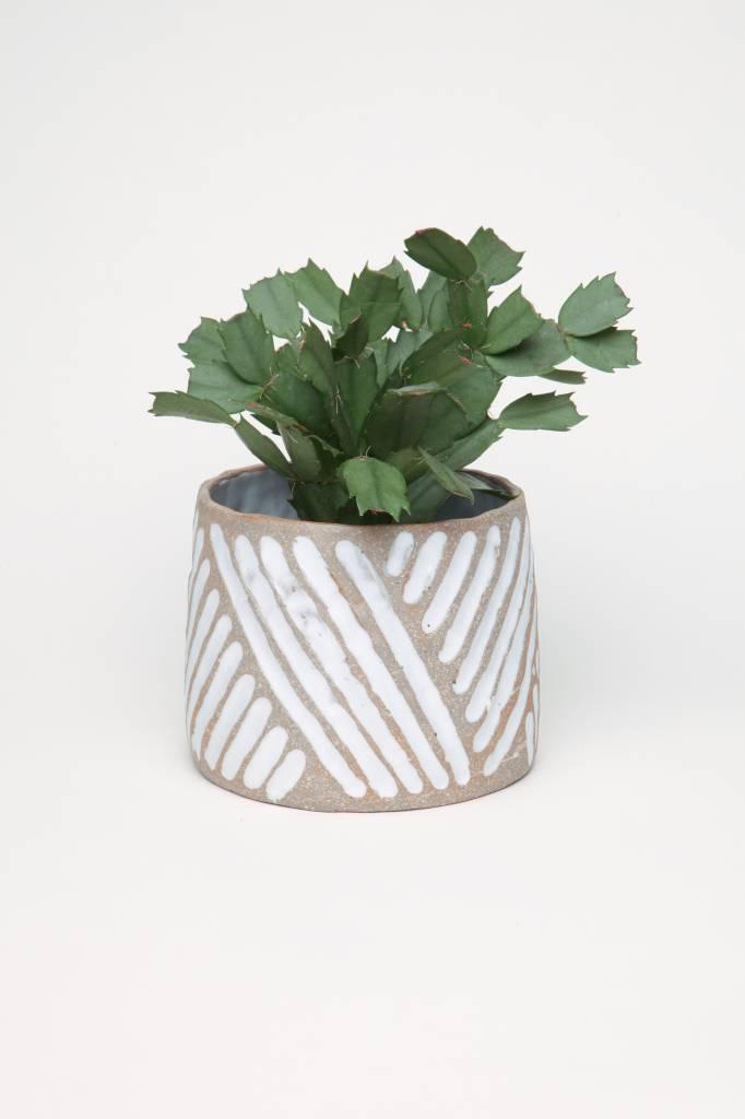 Alice Cheng Studio Carved White Glazed Planter Medium