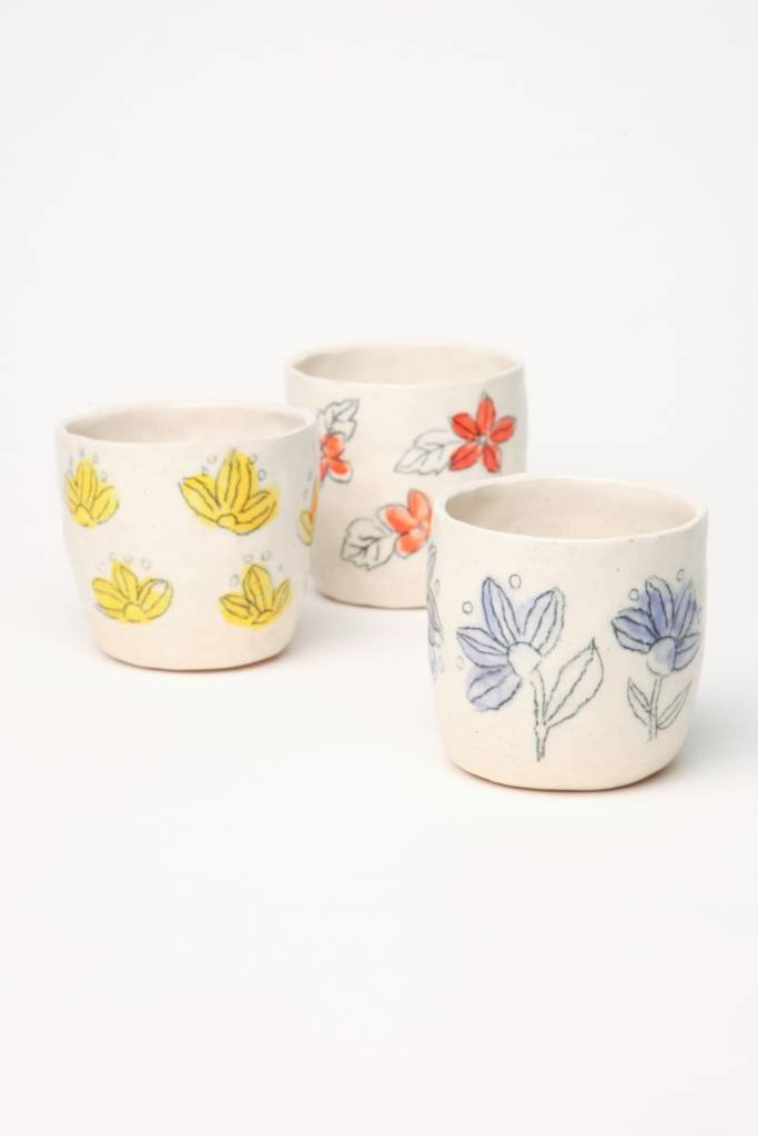 Alice Cheng Studio Small Stoneware Floral Cups