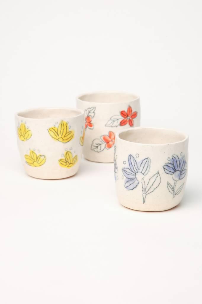 Alice Cheng Studio Small Stoneware Floral Cups