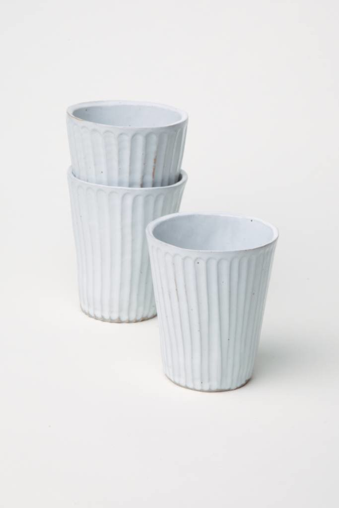 Alice Cheng Studio Carved Tall White Tumblers