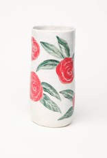 Alice Cheng Studio Tall Red Roses Vase Porcelain
