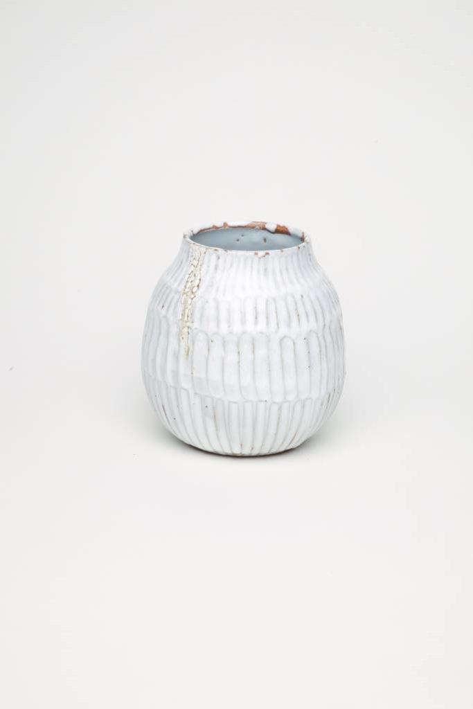 Alice Cheng Studio Carved White Vase