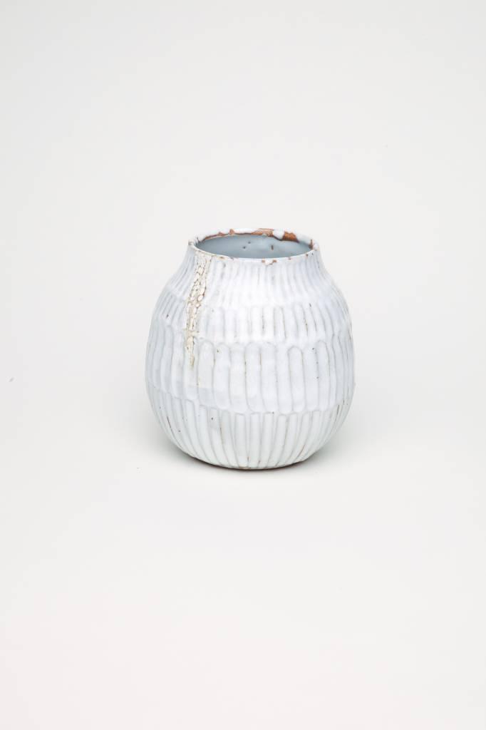 Alice Cheng Studio Carved White Vase